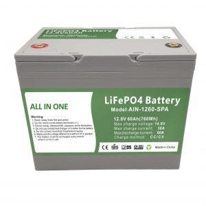 Fábrica vende bateria doméstica de plástico 12.8V60Ah 2.000 ciclos, bateria po4 12v para energia doméstica