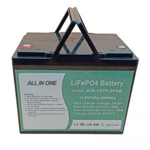 Bateria recarregável 896Wh lifepo4 12V 70Ah para vechile elétrico