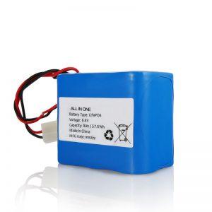 6,4 V 12Ah LiFePO4 Recarga de lítio 26650 32650 Bateria com conector para luz solar